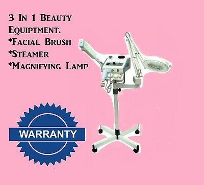 3 in 1 Multi Functional Beauty Machine Facials Facial Steamer Brush Machine Lamp