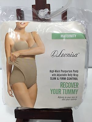 NEW Leonisa High-Waist Postpartum Panty with Adjustable Belly Wrap Nude XL