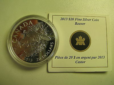 2013 Proof $20 The Beaver Canada .9999 silver twenty dollars COIN&COA ONLY