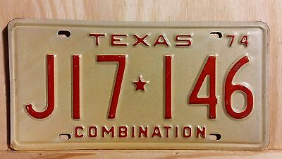 "Classic Nos 1974 Texas ""combination"" License Plate"