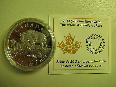 2014 Proof $20 The Bison #4-A Family at Rest Canada COIN&COA ONLY .9999 silver t