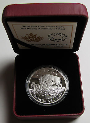 2014 Proof $20 The Bison #4-A Family at Rest Canada .9999 silver twenty dollars