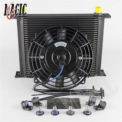 """Universal 30 Row Engine Transmission 8AN Oil Cooler + 7"""" Electric Fan Kit"""