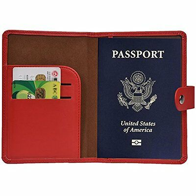 Hopsooken RFID Blocking Passport Holder Leather Travel Wallet Id Card Cover #4JW