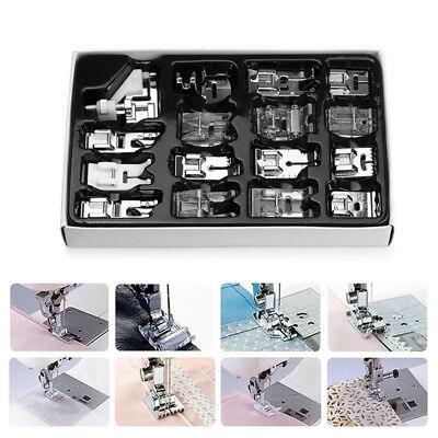 16pcs Domestic Sewing Machine Presser Foot Feet Set for Brother Janome Singer