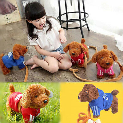 Kids Children Electric Music Pet Plush Cute Puppy Dog Wagging Running Toys Gift