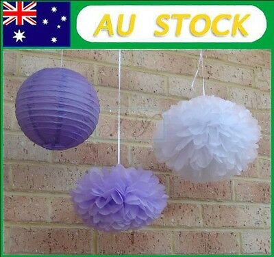 24x mix tissue paper pom poms&lanterns wedding party home baby shower decoration