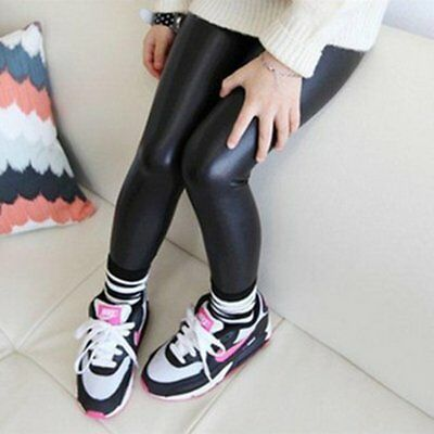 Toddler Kid Baby Girl Black Stretchy Faux Leather Skinny Pants Leggings Trousers