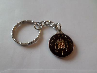 Vintage Enamelled One Penny Coin Keyring. Birthday Christmas Gift. Various Dates
