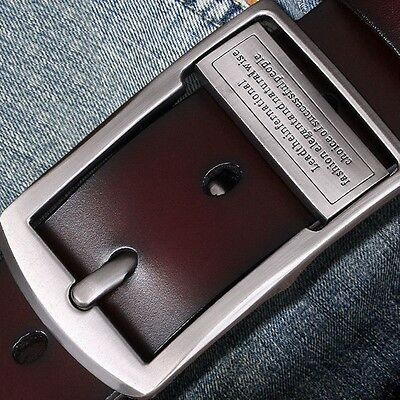 Men's Jeans Casual Waistband Dress Genuine Leather Belt Pin Metal Buckle Strap