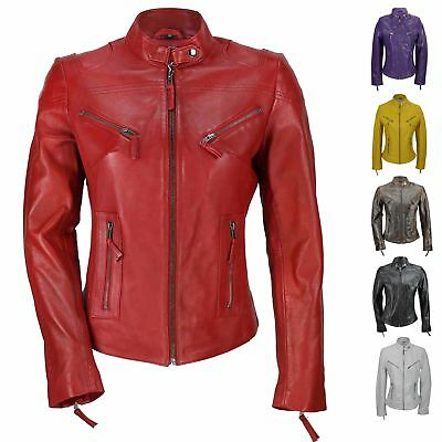 Ladies Womens Genuine Real Leather Vintage Slim Fit Red Brown Biker Jacket