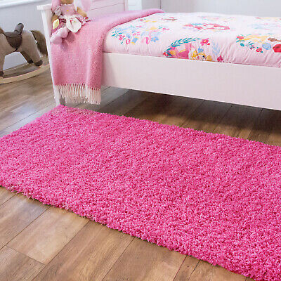 Kids Barbie Pink Shaggy Rug Children Bedroom Shaggy Soft Non Shed Easy Clean Mat
