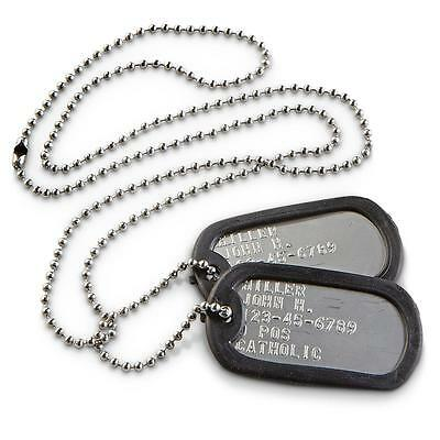 Military Personalized Dog Tags Stainless Steel SHINY  OFFICIAL GI ARMY / USMC