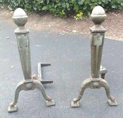 Vintage Fireplace Andirons Cast Iron