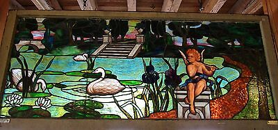 Great Antique Stained Scenic Window W Cherub & Swans