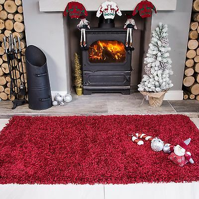Soft Warm Red Wine Shaggy Rug Christmas Rug Xmas Fireplace Mat Thick Lounge Rugs