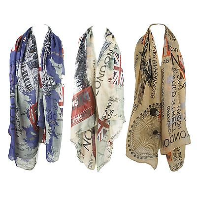 Ladies Scarf Shawl Wrap with Union Jack and UK Map