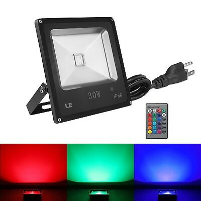 LE Remote Control 30W Outdoor RGB LED Flood Lights Dimmable 16 Colors Change ...