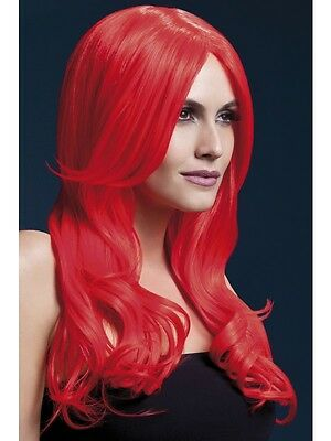 Adult Womens Neon Red Long Straight Khloe Wig Centre Parting 26In Smiffys Fever