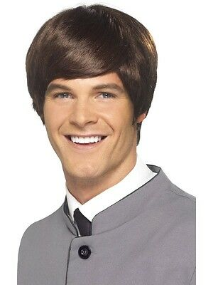 New Adult Men Brown 60's Male Mod Wig Costume Accessory