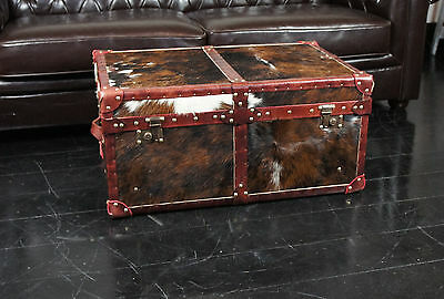Stunning Bespoke Cow Hide & Leather Coffee Table Ottoman Trunk