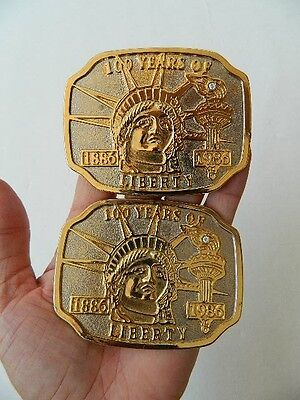 "Vintage ""100 Years Of Liberty"" 1886 To 1986 Belt Buckles Statue Of Liberty Torch"