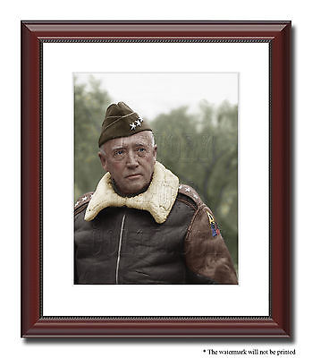 General George Patton Color Tinted Photo World War II 2 WW2 framed