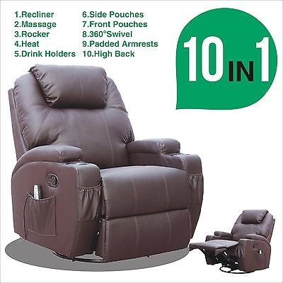 Brown Faux Leather Functional Massage Chair Recliner Heating Rocker Swivel