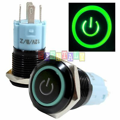 BSFn 16mm Green On Off LED 12V Latching Push Button Power Switch Waterproof