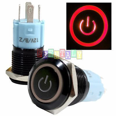 BSFn 16mm Red On Off LED 12V Latching Push Button Power Switch Waterproof