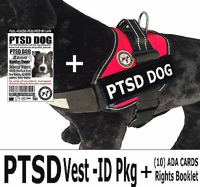 PTSD - DOG VEST + ID PKG  -  Rights Card/Booklet + Tag -(2) Service Dog Patches