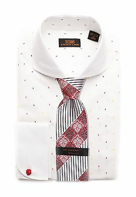 Dress Shirt by Steven Land Spread Collar Rounded French Cuff-White-DW1636-WH