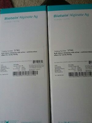 Two (2) biatain 3780  alginate ag dressing with silver