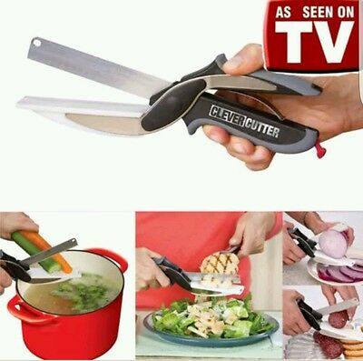 Clever Cutter 2-in-1 Cutting & Knife Board Scissors As Seen On TV  Brand New