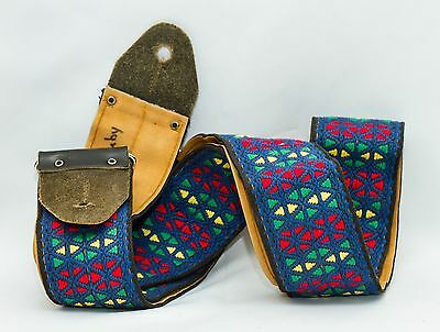Vintage 1960-70s Ace Guitar Strap~Leather & Embroidered~Clapton~Hendrix~Hippie