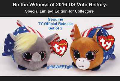 FRE Ship Set of 2 Limited Edition TY Teeny President VOTE Hillary Trump NEW