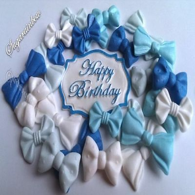 25 Edible sugar ribbons bows cake cupcake toppers Plaque PEARL AIRBRUSHED