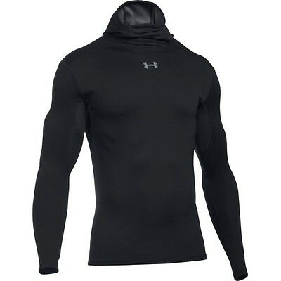 Under Armour Coldgear Elements Hooded Mens Base Layer Top - Black All Sizes