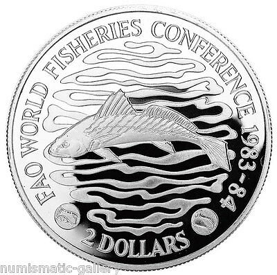 LIBERIA 2 DOLLARS 1983 Silver PF WORLD FISHERIES CONFERENCE