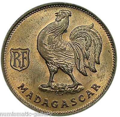 MADAGASCAR 50 CENTIMES 1943 Red & Brown UNC = ROOSTER =