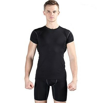 Mens Compression Sports Gym Wear Tops and Shorts Set Base Layers L/XL
