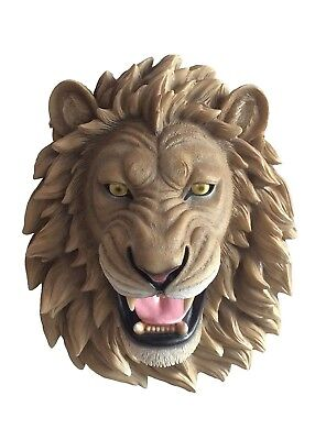 "Large 14.5"" Long King of The Jungle Lion Head Wall Mounted Hanging Sculpture"
