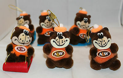 A&W Root Beer Set of 6 Rooty Bear Logo Soft Plush Christmas Ornaments Sleds