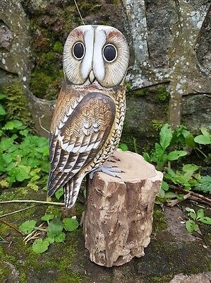 Stunning Wooden Hand Painted Tawny Owl Garden Bird Hand Carved
