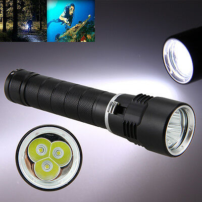 Diving 10000LM 3x XM-L T6 LED Aluminum Flashlight Torch Underwater 26650/18650