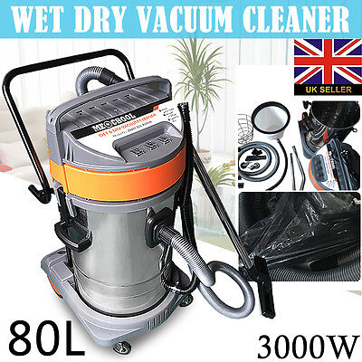 3000W 80L 230V Wet and Dry Vacuum Cleaner Blower Stainless Steel Industrial