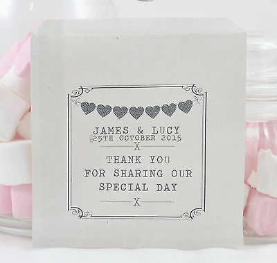 Personalised Heart Bunting White Paper Sweet Bags Wedding Favour Buffet Candy