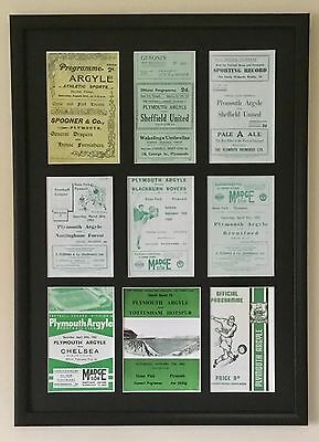 Plymouth Argyle Programmes  Picture Mounted And Framed Gift