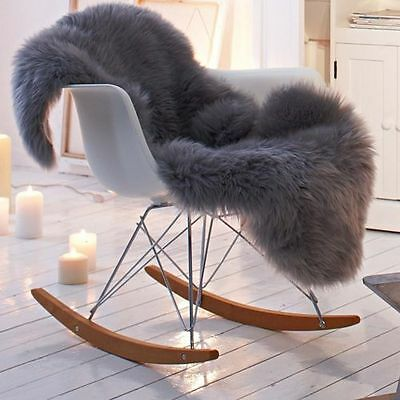 Luxury Sheepskin Rug, Throw, Blanket, Dyed Color Grey Ashen Size XL
