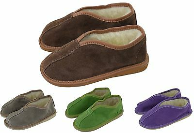Kids Children Girls Boys Natural Suede Leather And Shepp's Wool Lining Slippers
